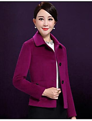 Women's Casual/Daily Simple Coat,Solid Long Sleeve Pink / Green / Purple Wool