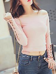 Damen Solide Einfach Lässig/Alltäglich T-shirt,Rundhalsausschnitt Herbst / Winter Langarm Rosa / Schwarz Baumwolle Mittel