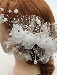 Mulheres Strass Tule Liga Acrilíco Capacete-Casamento Ocasião Especial Casual Flores Clip para o Cabelo 1 Peça
