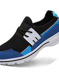Men's Athletic Shoes Spring Fall Comfort PU Casual Flat Heel Lace-up Black Blue Gray Running