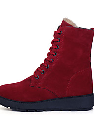 Women's Boots Winter Comfort PU Dress / Casual Flat Heel Lace-up Black / Red / Burgundy Walking / Others