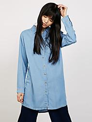 Feminino Camisa Casual Moda de Rua Todas as Estações,Sólido Azul Algodão / Poliéster Colarinho de Camisa Manga Longa Média