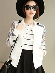 Women's Plus Size / Casual/Daily Simple Jackets,Floral / Leopard Long Sleeve White / Black Cotton / Spandex