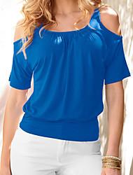 Tee-shirt Femme,Couleur Pleine Décontracté / Quotidien / Grandes Tailles simple Eté ½ Manches Col ArrondiBleu / Rouge / Blanc / Noir /