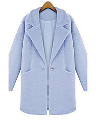 Women's Casual/Daily Simple / Cute / Street chic Coat,Solid Shirt Collar Long Sleeve Fall / Winter Blue / Pink Wool / Polyester Thick