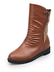 Women's Boots Combat Boots PU Fall Casual Walking Combat Boots Chain Tassel Low Heel Black Brown 1in-1 3/4in