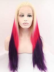 sylvia dentelle synthétique avant perruque longues perruques synthétiques blonds purple trois tons cheveux ombre de chaleur de cheveux