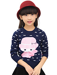 Girl's Cotton Spring/Fall Sweet Fashion Casual/Daily Bowknot Long Sleeves Round Neck Sweater Knitted Pullovers