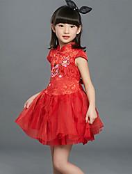 Menina de Vestido,Casual Bordado Seda Verão Vermelho