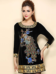 AINIER Women's Casual/Daily Chinoiserie Tunic DressEmbroidered Round Neck Above Knee Long Sleeve Black Spandex Fall Mid Rise Inelastic Thin