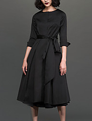 Chocolatone Women's Work Simple Loose DressSolid Round Neck Midi  Length Sleeve Black Polyester