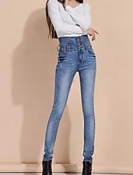 Women's Solid Blue Jeans / Skinny Pants,Simple All Seasons
