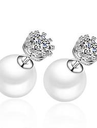 Boucle Perle / Strass Boucles d'oreille goujon Bijoux Femme Mariage / Soirée / Quotidien / Décontracté Perle / Argent sterling / Zircon1