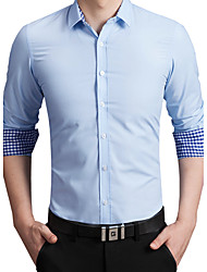 Men's Business Casual Slim Cotton Long Sleeved ShirtSolid Shirt Collar Short Sleeve Blue / Red / White Cotton / Polyester Thin