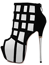 Damen-High Heels-Lässig-Leder-Stöckelabsatz-Plateau-Weiß