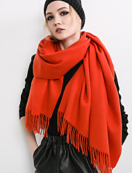 Women Vintage Casual Classic wool Cashmere pure color autumn and winter long tassel scarf