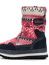 Girl's Boots Winter Comfort Fur Outdoor Casual Flat Heel Magic Tape Blue Green Red Gray Hiking Walking