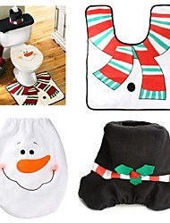 1 Sets Christmas Decorations Xmas Toilet Seat Cover And Rug Washroom Set Snowman Decorative Lids Promotions