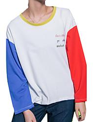 Damen Patchwork Einfach Lässig/Alltäglich T-shirt,Rundhalsausschnitt Herbst Langarm Rosa / Rot / Schwarz Baumwolle Mittel