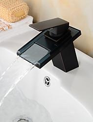 pia torneiras, contemporâneo com cromo única alça de um buraco, recurso para a cachoeira / centerset