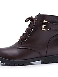 Women's Boots Fall Winter Comfort PU Casual Low Heel Lace-up Black Taupe Walking
