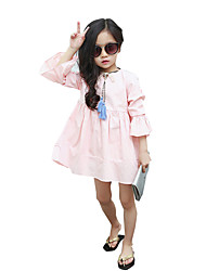 Girl's Going out Solid Dress,Cotton Summer / Spring / Fall Pink / Purple / White