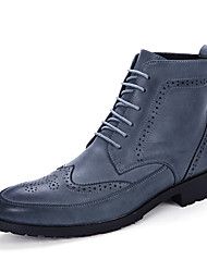 Men's Boots Fall Winter Microfibre Casual Flat Heel Lace-up Black Brown Blue