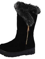 Women's Boots Spring Fall Winter Other Leather Fur Casual Flat Heel Zipper Black Red Other