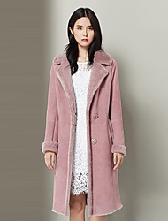 Xuebao Women's Casual/Daily Simple Fur CoatSolid Cowl Long Sleeve Fall / Winter Pink Wool Thick