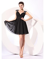 Short / Mini Chiffon / Sequined Bridesmaid Dress - Little Black Dress A-line V-neck with Sequins