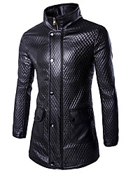 Men's Solid Casual / Work CoatPolyester Long Sleeve-Black hot sale brand fashion