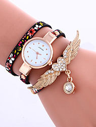 Women's  Heart Angel Wings Bracelet Watch Quartz Leather Band Flower Brand