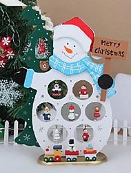 bois de décoration de table de cadeau de noël bonhomme de neige de Noël avec ornement pour x'mas articles d'ameublement de bonhomme de