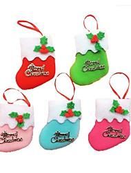6PCS Little Boots Hanging Christmas Tree Ornaments Christmas Holiday Decorations Christmas Socks(Style random)
