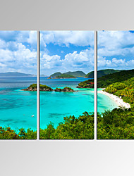 VISUAL STAR3 Panel Green hills and blue waters Photos Print on Canvas Wall Decoration Canvas Art Ready to Hang
