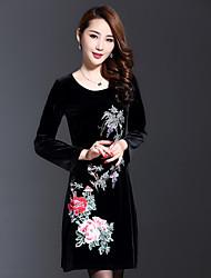 Ample Robe Femme Décontracté / Quotidien Chinoiserie,Broderie Col Arrondi Au dessus du genou Manches Longues Noir Spandex / Autres