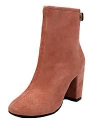Damen-High Heels-Lässig-Vlies-Blockabsatz-Others-Schwarz / Rosa / Grau