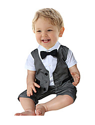 Boy Casual/Daily Patchwork Overall & Jumpsuit Cotton Ma3 jia3 Tie Gentleman Modelling Ha Garments With Short Sleeves