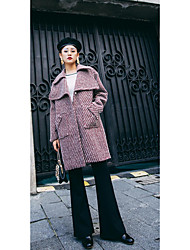 Women's Casual/Daily Simple Coat,Striped Long Sleeve Winter Red Wool Thick