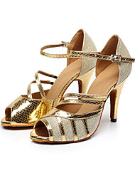 Customizable Women's Dance Shoes Black/Gold Leatherette / Sparkling Glitter Latin / Salsa Sandals / HeelsCustomized