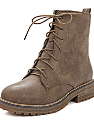 Women's Boots Winter Combat Boots Dress Low Heel Zipper / Lace-up Brown / Gray Others