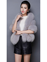 2016 new imitation fox fur cape coat ladies short paragraph Haining fur fur coat