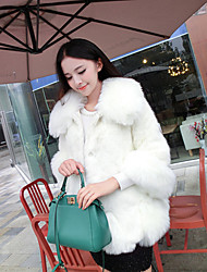 Women's Casual/Daily Simple Fur Coat,Solid Long Sleeve Winter Pink / White / Black / Gray Fox Fur