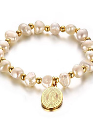 18K Gold Plated freshwater pearl bracelet 16cm