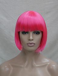 qualidade de cabelo sintético rosa escuro anime traje cosplay peruca curta bob