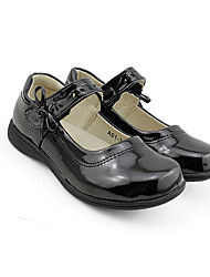 Girls' Flats Spring Fall Comfort Light Up Shoes PU Casual Flat Heel Bowknot Magic Tape Black