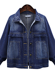 Spring Plus Size Women Denim Jackets Solid Shirt Collar Long Sleeve Going out Casual Coat Tops
