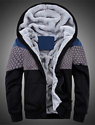 Masculino Tamanhos Grandes Jacket Hoodie Casual Moda de Rua Estampa Colorida Retalhos Forro de Lã Poliéster Lã Micro-Elástico Manga Longa