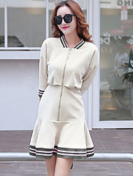 Women's Beach Cute Skater Dress,Patchwork Square Neck Above Knee Long Sleeve Beige Polyester Fall High Rise Micro-elastic Medium