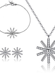 Women Fashion Star Sunflowers Snowflakes Necklace Bracelet Earrings Set